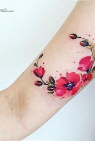 好看的彩色美丽花朵手臂纹身图案