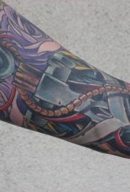 手臂船锚和花朵彩色纹身图案