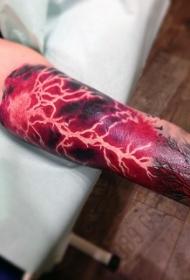 手臂五彩美丽的闪电纹身图案