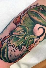 插画风格彩色的恐龙家族手臂纹身图案