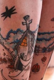 小腿卡通景观彩色纹身图案