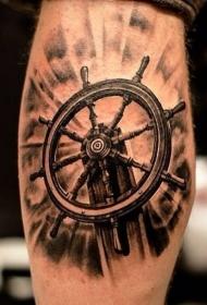 小腿3D风格的船舵纹身图案
