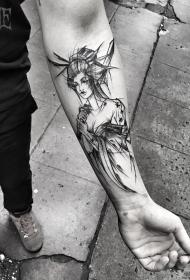 小臂钢笔画风格艺妓纹身图案