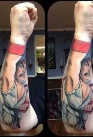 手臂3D风格的亚洲卡通空手道小子彩色纹身图案