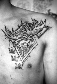 胸部黑色麋鹿和几何图形纹身图案