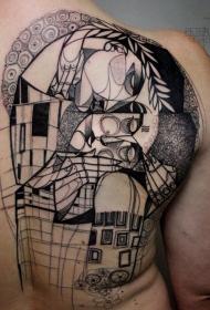 背部抽象风格的黑色房子纹身图案