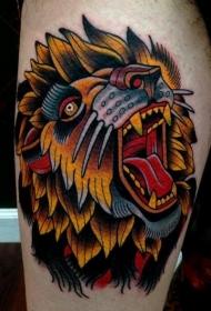 大腿彩色惊人的咆哮狮子头纹身图案
