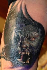 新传统风格彩色的狼人手臂纹身图案