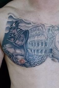 胸部古罗马的角斗士竞技场和天使纹身图案