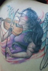 背部天使女孩在拉小提琴纹身图案