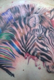 背部精彩漂亮的彩色斑马纹身图案