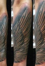 简单的手绘黑白翅膀手臂纹身图案