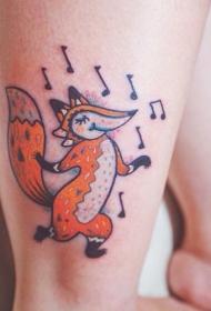 有趣的卡通舞蹈狐狸和音符彩色脚踝纹身图案