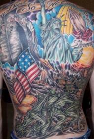美国爱国主题彩色满背纹身图案