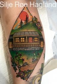 old school彩色房子与太阳手臂纹身图案