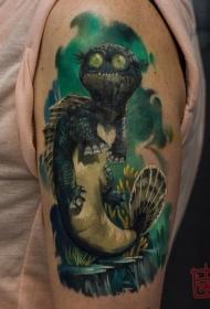 大臂卡通风格的彩色动物纹身图案