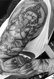花臂传统象神莲花纹身图案