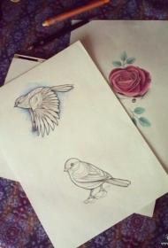 欧美school鸟玫瑰纹身图案手稿