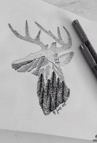 欧美麋鹿点刺树林线条纹身图案手稿