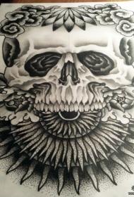 欧美骷髅太阳牡丹花点刺纹身图案手稿
