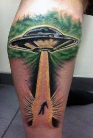 小腿可怕的3D五颜六色外星飞船纹身图案