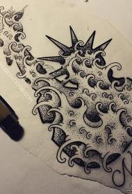 浪花点刺自由女神个性纹身图案手稿