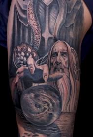 大腿惊人的3D指环王主题人物纹身图案