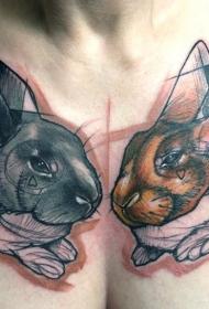 女士胸部惊人的抽象兔子纹身图案
