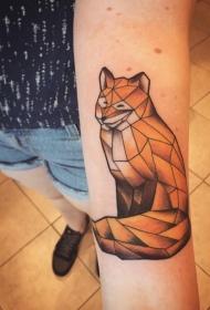 手臂抽象风格的彩色几何狐狸纹身图案
