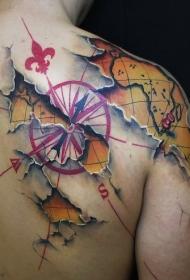 背部彩色的3D航海主题世界地图和指南针纹身图案