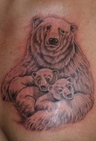 可爱的大熊小熊纹身图案