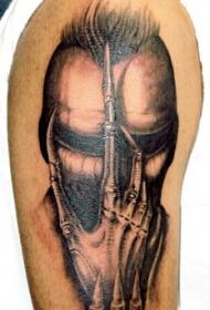大臂神秘机械人像纹身图案