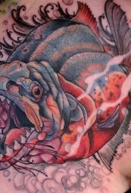 背部new school彩色的邪恶暴力鱼纹身图案