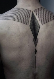 肩部准确的线条装饰风格黑色纹身图案