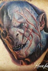 背部彩色写实的霍比特人酋长纹身图案