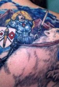 北极熊与幻想战士纹身图案