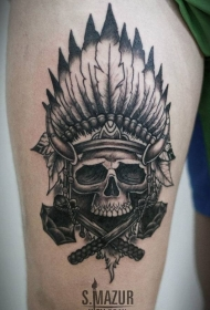 大腿黑灰印度骷髅与羽毛纹身图案