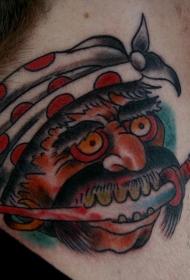 亚洲风格的海盗头像纹身图案