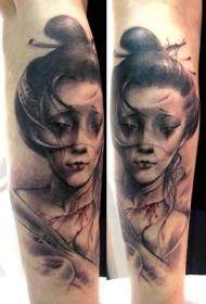 小臂彩色凄美的亚洲女生肖像纹身图案