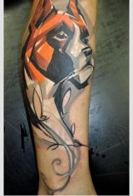 漂亮的水彩狗纹身图案