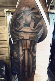 大臂黑色个性机械纹身图案