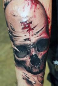 手臂非常惊人的彩色血腥骷髅与神秘符号纹身图案