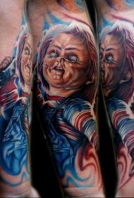 手臂恐怖风格可怕的小男孩纹身图案