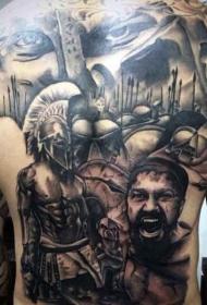 满背巨大的斯巴达主题战士纹身图案
