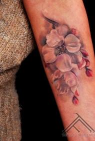 手臂插画风格彩色花朵纹身图案