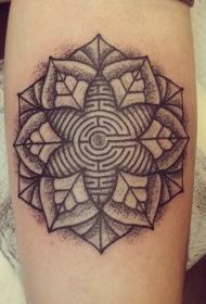 黑色的点刺曼陀罗花迷宫手臂纹身图案