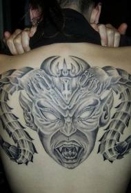 背部恶魔怪物羊角纹身图案