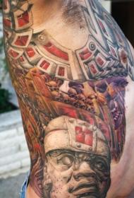 侧肋石头雕像与生物力学机械纹身图案