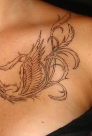 胸部美丽的黑色线条凤凰纹身图案