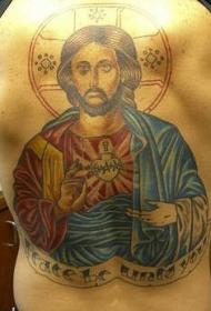 背部彩色的耶稣和圣心纹身图案